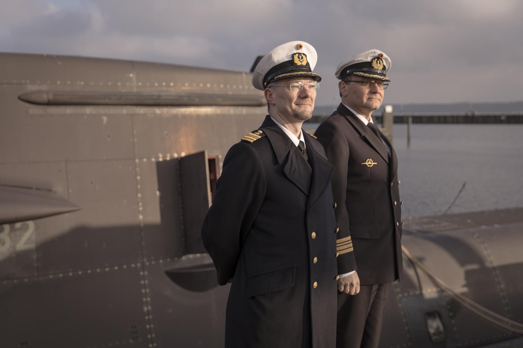 Fregattenkapitäne des 1. Ubootgeschwader Lars Johst (li.) und Manfred Grabienski (re.).